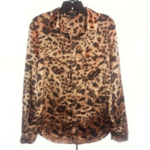 Forever 21 Animal Print Blouse Sz M
